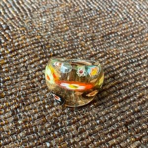 Unique and Colorful Flower Embedded Glass Ring